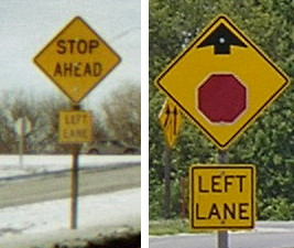 """Text """"Stop Ahead"""" signs phased out 