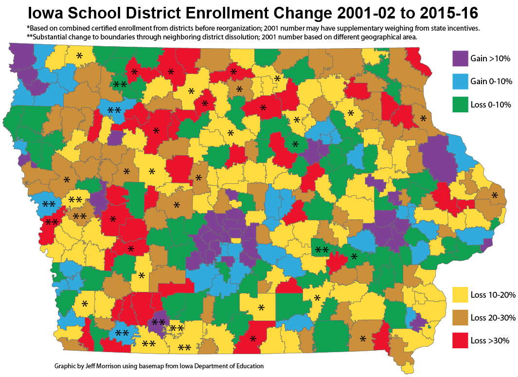 Map Of Iowa School Enrollment Changes 20012015  Iowa