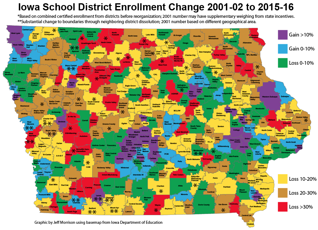 Map of Iowa school enrollment changes 20012015 Iowa Highway Ends