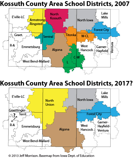 Garner Iowa Map.Kossuth County Area Schools And Rural Iowa S Population Collapse