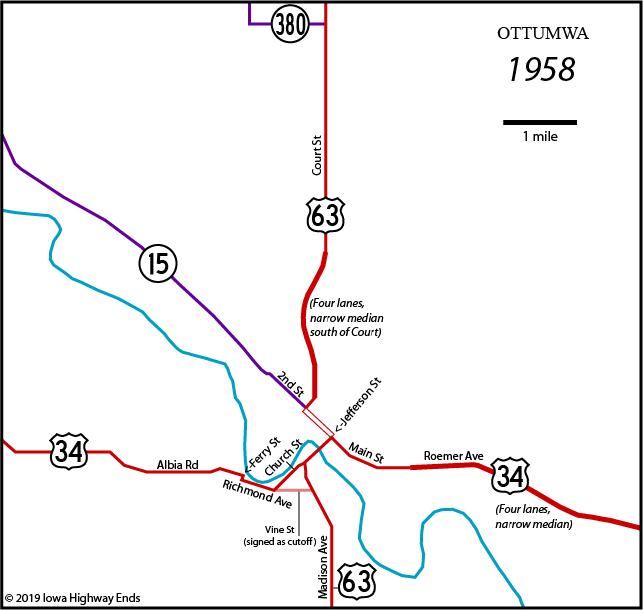 map of ottumwa iowa Ottumwa Highway Chronology map of ottumwa iowa